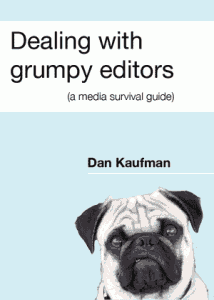 Dealing with grumpy editors book cover (it shows a very disgruntled pug)